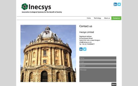 Screenshot of Contact Page inecsys.co.uk - Contact us - Inecsys Ltd - captured Nov. 26, 2016