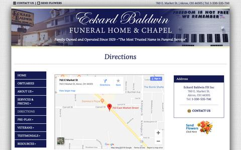 Screenshot of Maps & Directions Page eckardbaldwin.com - Eckard Baldwin FH Inc | Akron OH funeral home and cremation - captured Sept. 27, 2018