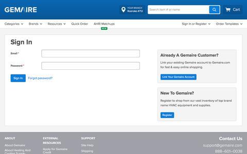 Screenshot of Login Page gemaire.com - Sign In - captured Dec. 3, 2019