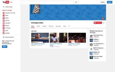 Screenshot of YouTube Page youtube.com - michiganradio  - YouTube - captured Oct. 29, 2014