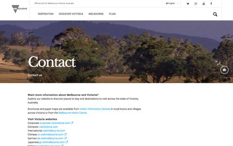 Screenshot of Contact Page visitmelbourne.com - Contact us, Melbourne, Victoria, Australia - captured Sept. 22, 2018