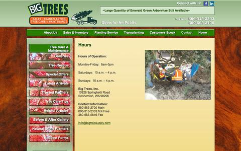 Screenshot of Hours Page bigtreesupply.com - Tree Transplanter | Tree Nurserys | Evergreens Trees | Big Tree Supply - captured June 16, 2016