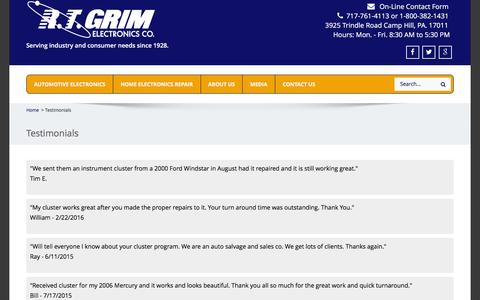 Screenshot of Testimonials Page rtgrim.com - Testimonials - R.T. Grim - captured Nov. 28, 2016