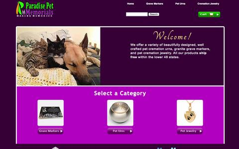 Screenshot of Home Page paradisepetmemorials.com - Pet Cremation Urns | Pet Cremation Jewelry | Pet Grave Markers - captured Oct. 1, 2014