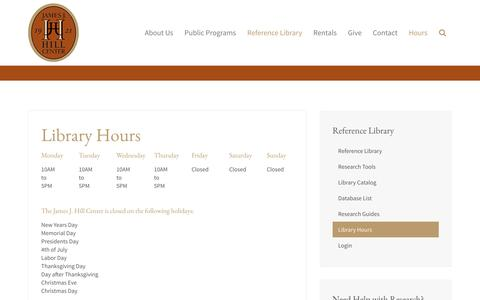 Screenshot of Hours Page jjhill.org - Library Hours - captured Nov. 26, 2016