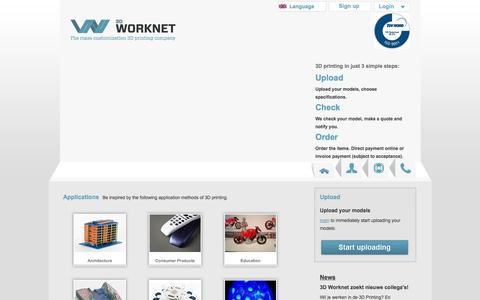 Screenshot of Home Page Signup Page 3dworknet.com - 3D Worknet - captured Oct. 9, 2014