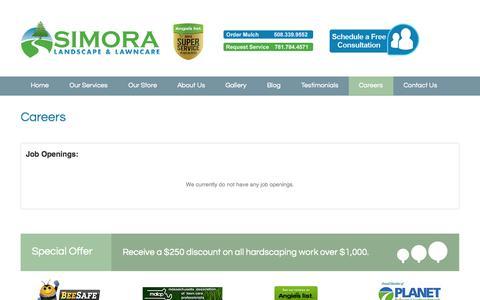 Screenshot of Jobs Page simora.com - Careers - Simora Landscape & Lawncare - captured Oct. 7, 2014