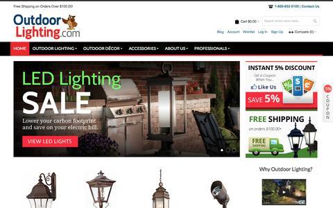 Screenshot of Home Page outdoorlighting.com - Outdoor Lighting Sale - captured Oct. 6, 2014