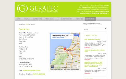 Screenshot of Contact Page geratecza.com - Contact us | GERATEC - captured Nov. 1, 2014