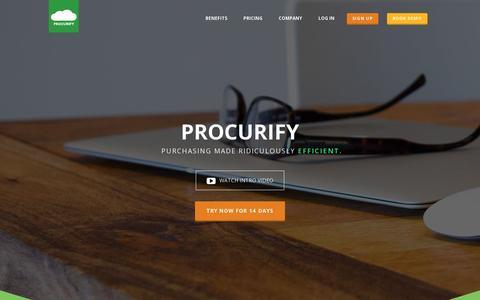 Screenshot of Home Page procurify.com - Procurify - Cloud Enterprise Purchasing Management Software - captured July 11, 2014