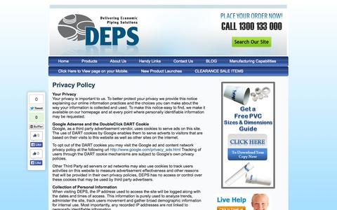 Screenshot of Privacy Page deps.com.au - Privacy Policy | DEPS - captured Sept. 30, 2014