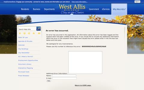 Screenshot of Login Page westalliswi.gov - West Allis, WI - Official Website - captured Oct. 2, 2014