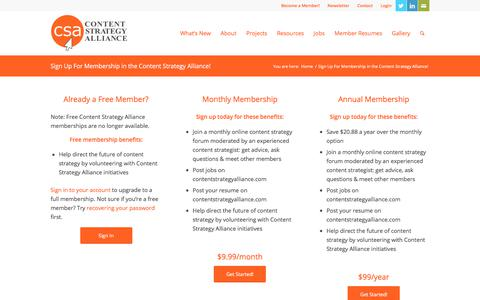 Screenshot of Signup Page contentstrategyalliance.com - Sign Up For Membership in the Content Strategy Alliance! » Content Strategy Alliance - captured Oct. 22, 2019