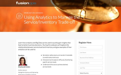 Screenshot of Landing Page fusionops.com - Free Webcast:  Manage the Service/Inventory Tradeoff - captured Dec. 25, 2016