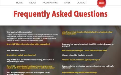 Screenshot of FAQ Page apesf.org - FAQ for APESF | Arizona Tax Credit Program - captured Oct. 4, 2014