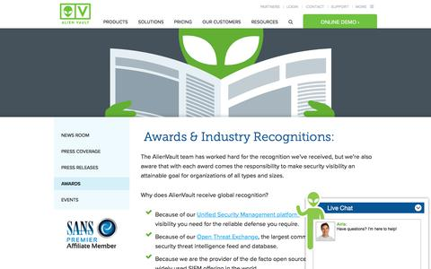 Awards & Industry Recognitions | AlienVault