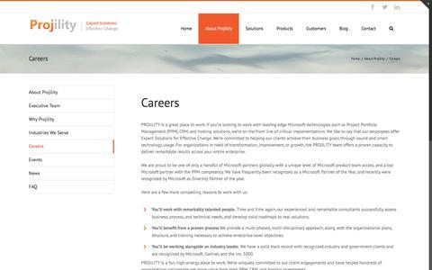 Screenshot of Jobs Page projility.com - Careers - Projility - captured June 14, 2018