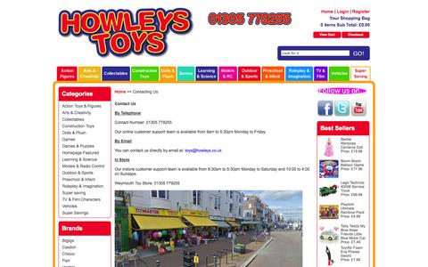 Screenshot of Contact Page howleys.co.uk - Contacting Us - captured Oct. 3, 2014