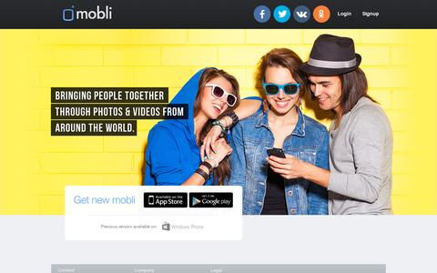 Screenshot of Home Page mobli.com - Mobli - See the world through other peoples eyes - captured July 11, 2014