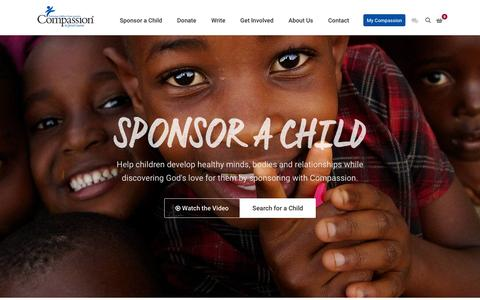 Screenshot of Home Page compassion.ca - Compassion Canada | Releasing Children from Poverty in Jesus' Name - captured Jan. 30, 2016