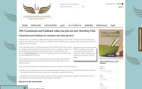 Screenshot of Signup Page lajewellery.co.uk - 10% Commission and Cashback when you join our new Jewellery Club - La JewelleryLa Jewellery - captured July 11, 2016
