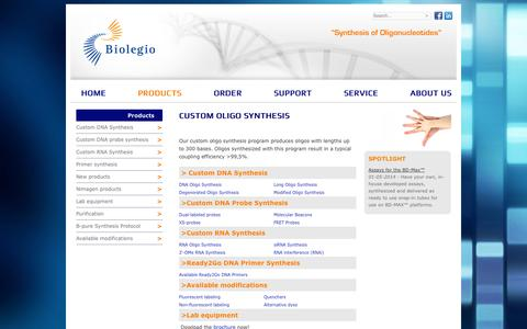 Screenshot of Products Page biolegio.com - Oligo Synthesis Products - Biolegio - captured Oct. 5, 2014