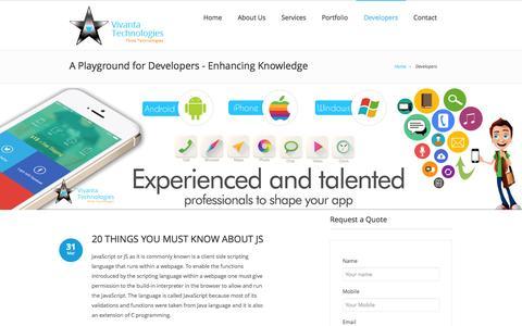 Screenshot of Developers Page vivantatechnologies.com - Vivanta Technologies Developers - A Playground for Developers - captured Sept. 25, 2014
