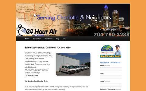Screenshot of Home Page 24hourair.com - 24hourair   Heating & AC Specialists - captured Dec. 21, 2016