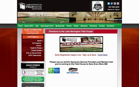 Screenshot of Maps & Directions Page lakebarringtonfieldhouse.com - Directions   Lake Barrington Field House   Lake Barrington Field House - captured Oct. 3, 2014