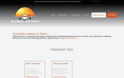 Screenshot of Jobs Page globalairtech.com - Global Airtech - captured July 19, 2018