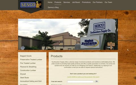 Screenshot of Products Page southeasternsupply.com - Products - Southeastern Supply Company - captured Oct. 1, 2014