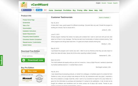 Screenshot of Testimonials Page vcardwizard.com - vCard Wizard product Home. Share Microsoft Outlook Contacts. - captured May 20, 2016