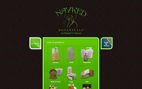 Screenshot of Products Page naykedbotanicals.com - Nayked Botanicals - captured Oct. 9, 2014