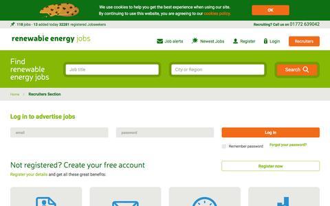 Screenshot of Login Page renewableenergyjobs.com - Recruiter Section | Renewable Energy Jobs - captured Aug. 27, 2016