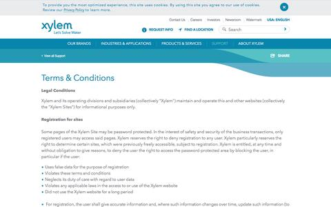 Screenshot of Terms Page xylem.com - Terms and Conditions - Xylem Inc. - USA - captured April 9, 2017
