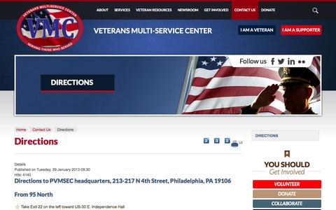 Screenshot of Maps & Directions Page pvmsec.org - Directions - captured Oct. 6, 2014