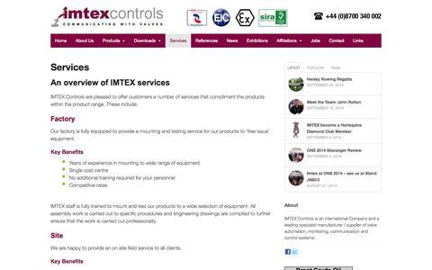 Screenshot of Services Page imtex-controls.com - Services - Imtex Controls - captured Oct. 4, 2014