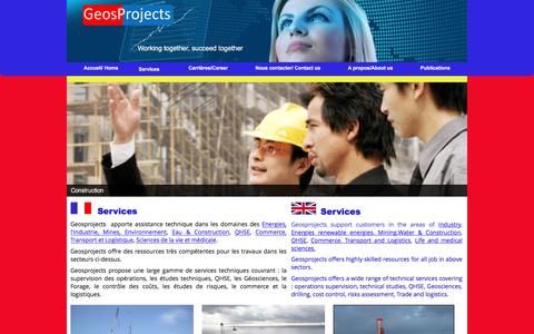 Screenshot of Services Page geosprojects.com - Services - GEOSPROJECTS - captured May 12, 2017