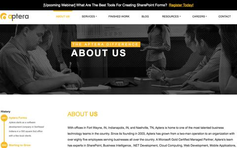 Screenshot of About Page apterainc.com - About Us | Aptera Software, Inc. - captured Nov. 5, 2015
