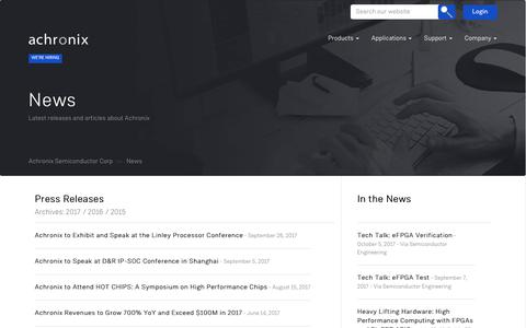 Screenshot of Press Page achronix.com - News – Achronix Semiconductor Corp - captured Oct. 7, 2017