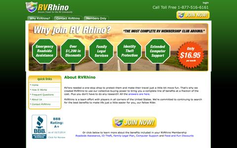 Screenshot of About Page rvrhino.com - About RV Rhino Benefits Package - captured Oct. 7, 2014