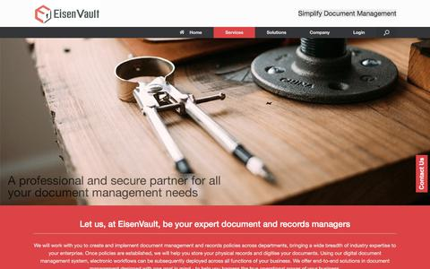 Screenshot of Services Page eisenvault.com - Document Management Services | Eisenvault - captured Oct. 29, 2016