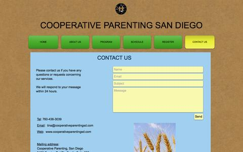 Screenshot of Contact Page cooperativeparentingsd.com - Cooperative Parenting | Contact Us - captured Nov. 10, 2016