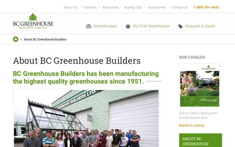 Screenshot of About Page bcgreenhouses.com - About BC Greenhouse | BC Greenhouse Builders Ltd. - captured Feb. 7, 2016