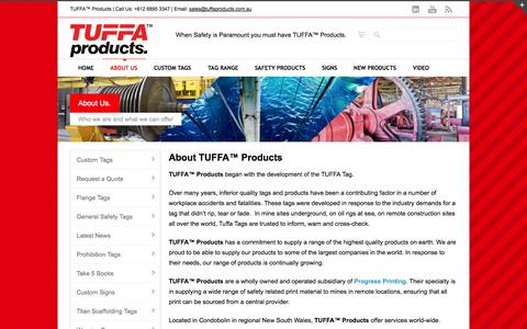 Screenshot of About Page tuffaproducts.com.au - About Us | TUFFA™ Products - captured Sept. 30, 2014