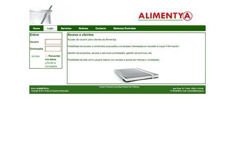 Screenshot of Login Page alimentya.es - Login | S.C.A. ALIMENTYA S.L. - captured Sept. 30, 2014