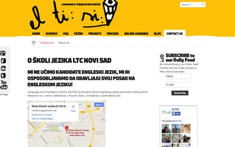 Screenshot of About Page eltisi.com - O ŠKOLI JEZIKA LTC NOVI SAD - Skola stranih jezika Novi Sad LTC - captured Nov. 1, 2014