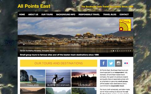 Screenshot of Home Page allpointseast.com - All Points East - Southeast Asia tours and travel specialists - captured Sept. 30, 2014