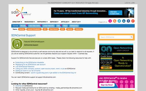 Screenshot of Support Page sdncentral.com - SDNCentral Support - The #1 resource for SDN - captured Oct. 10, 2014