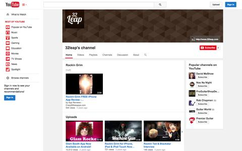 Screenshot of YouTube Page youtube.com - 32leap's channel  - YouTube - captured Oct. 26, 2014